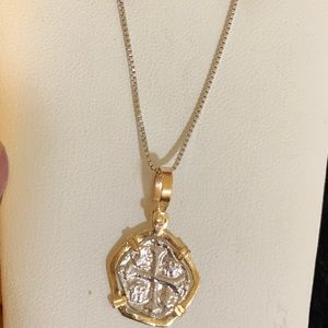 Jewelry - Atocha silver coin pendant in gold bezel & chain